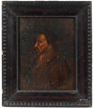 École du Nord XVIIIe.Portrait présumé de Jean Calvin (1509-1564). Huile sur panneau. 23 x 19 cm