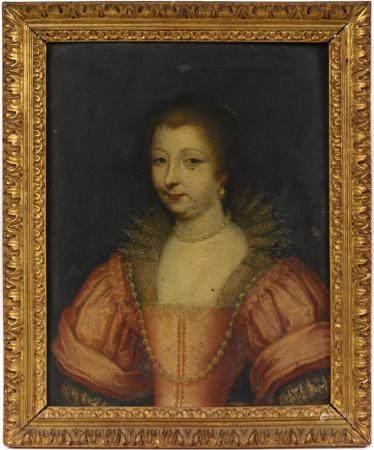 École française début XVIIe. Portrait de Charlotte des Essarts. Huile sur cuivre. 30 x 23 cm. N