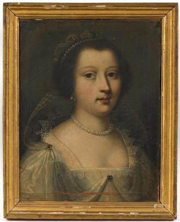 Jean DUCAYER (XVIIe).Portrait de Marie de la Tour d'Auvergne. Huile sur toile signée au revers.