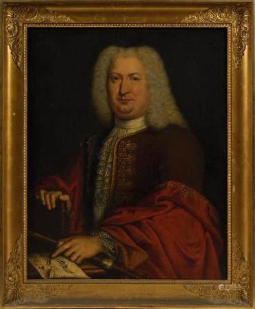 École française XVIIIe.Portrait de François AUBIN (1690-1752).Huile sur toile portant au revers