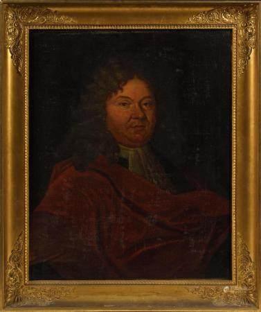 École française XVIIIe.Portrait de Charles AUBIN.Huile sur toile.75 x 62 cm.(rentoilage et rest