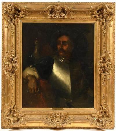 Alexis VOLLON (1865-1945).Gentilhomme à la cuirasse.Grande huile sur toile signée en bas à gauc