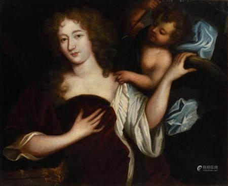 École française vers 1720.Vénus et CupidonHuile sur toile.69 x 84,5 cm.(rentoilage et restaurat