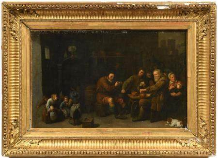 Attribué à David RYCKAERT III (1612-1661).Scène de taverne animée.Huile sur toile.58 x 91 cm.(r