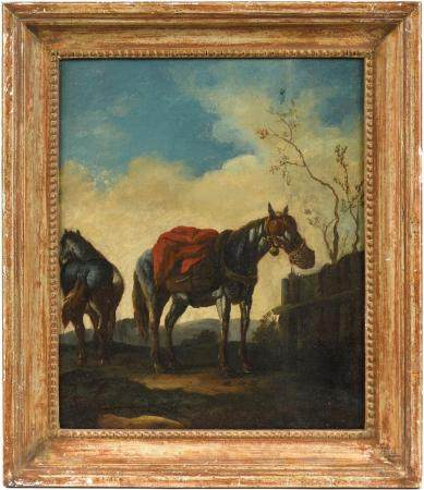 École XVIIIe.La halte des chevaux.Huile sur toile.39,5 x 33 cm.(rentoilage et restauration).