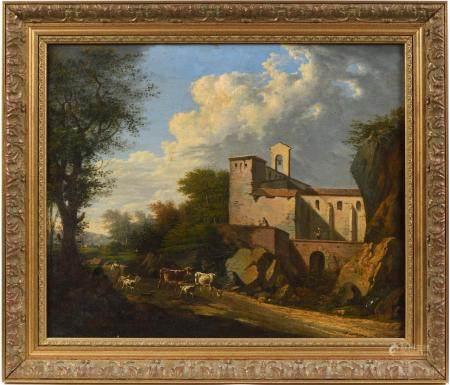 École italienne fin XVIIIe-début XIXe.Paysage animé à l'abbaye aux environs de Florence.Huile s