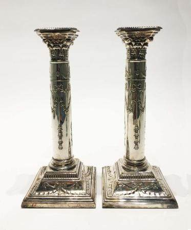 A Pair of Silver Plated Candlesticks. Continental. NO RESERV