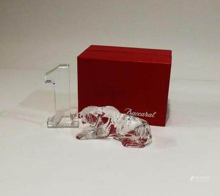 Baccarat Crystal Lion and Number One Paperweights. NO RESERV