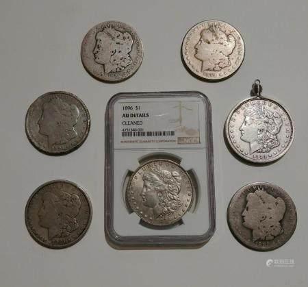 Lot of 7 Morgan Silver Dollars. One NGC Graded 90% silver