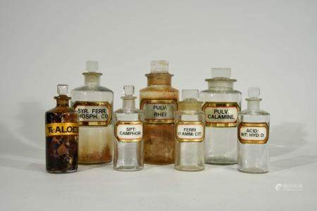 Lot of Seven Antique Assorted Apothecary Bottles