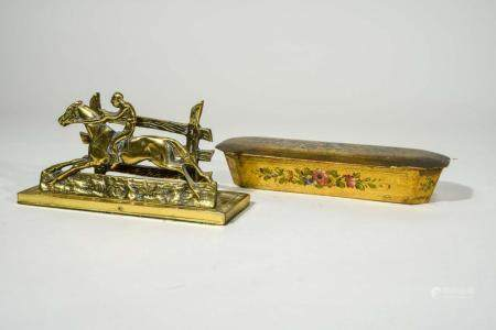 Antique Gilt Wood Pencil Box and Brass Letter Holder, NO RES
