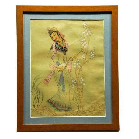Qajar Persian Miniature Painting of Woman Playing the Tar