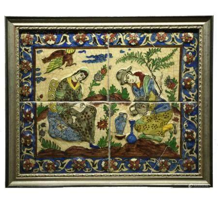 Qajar Persian Glazed Pottery Tile Panel