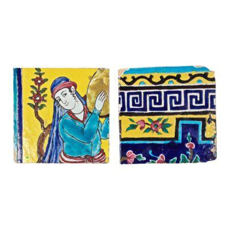 Two Cuerda Seca Persian Tiles, 18th &19th Century