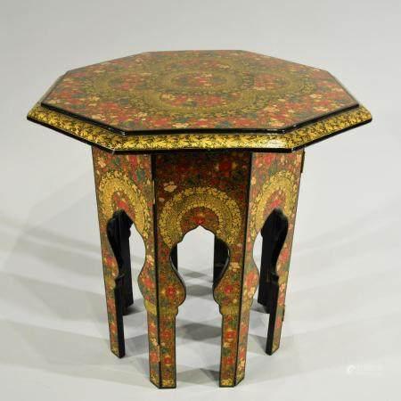 Kashmiri Painted Wood Travel Table. ca 1900