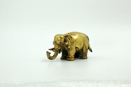 Chinese Bronze Gold Gilded Elephant