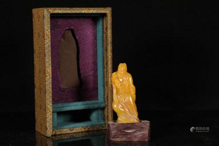 Chinese Qing Dynasty Kangxi Period Tianhuang Jade Statue Of Li Bai