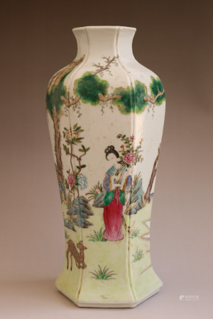 Chinese Qing Dynasty Qianlong Period Famille Rose  Hexagonal Porcelain Bottle