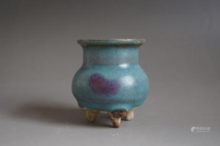 Chinese Jun Kiln Three-Legged Porcelain Stove