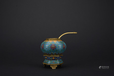 Qing dynasty cloisonne jar with twisted branch lotus pattern