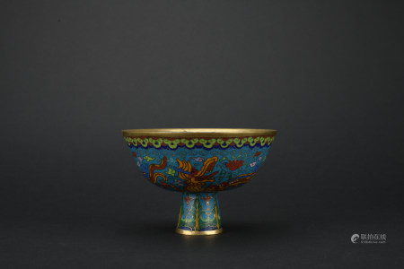 Qing dynasty cloisonne high-foor bowl with dragon pattern