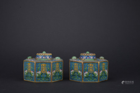 Qing dynasty cloisonne cover box with pesch pattern