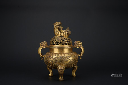 Qing dynasty gilt bronze incense burner