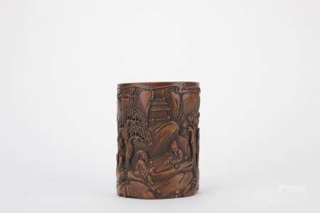 Qing dynasty wood figure pen container