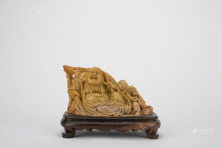 Qing dynasty Shoushan stone maitreya ornament