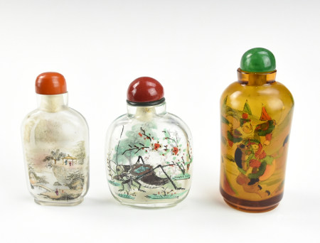 Three Chinese Reverse Glass Painting Snuff Bottle