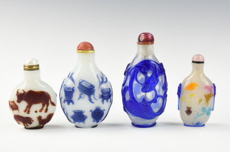 Four Chinese Glassware Snuff Bottles