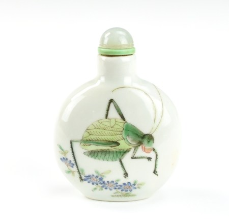 """Chinese Famille """"Cricket """"Snuff Bottle, Daoguang P"""