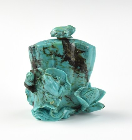 Chinese Turquoise Snuff Bottle w/ Lotus& Frog
