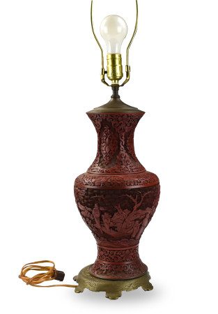 Chinese Carved Lacquer Vase MAL,19th C.