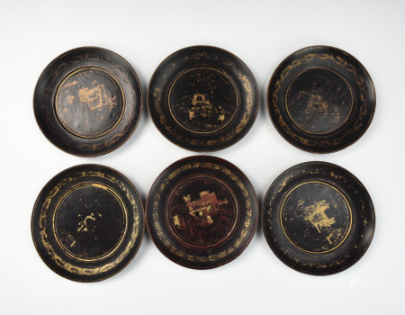 Set of 6 Chinese Gilt Lacquer Plate, Qing Dynasty