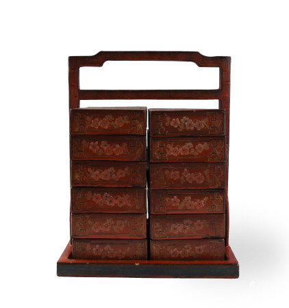 Chinese Antique Red Lacquer Marriage Stack Box