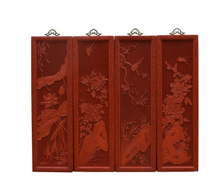 Set of 4 Chinese Lacquer Panels w/ Birds & Flower