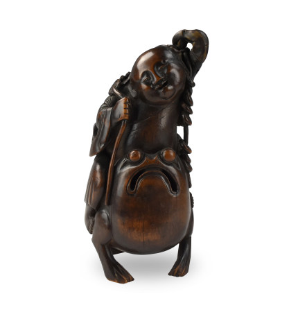 """Chinese Bamboo Carving of """"Liu Hai & Golden Toad"""""""
