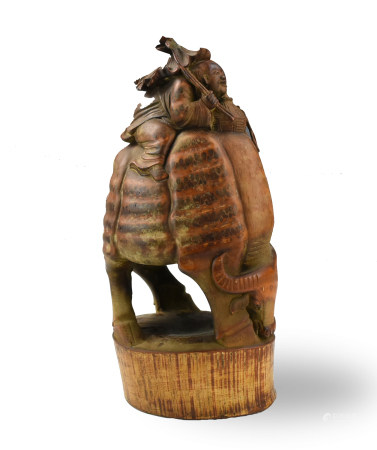 """Chinese Bamboo Carving """"Boy Riding on a Buffalo"""""""