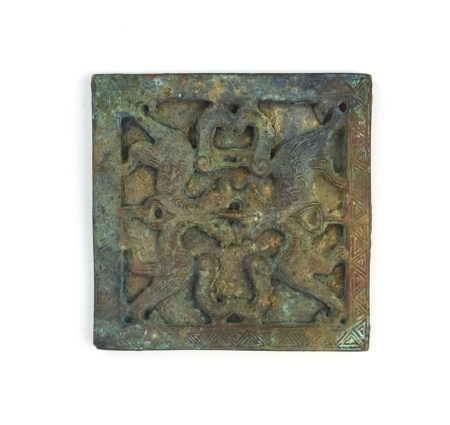 Chinese Square Shaped Bronze Mirror, Han Dynasty