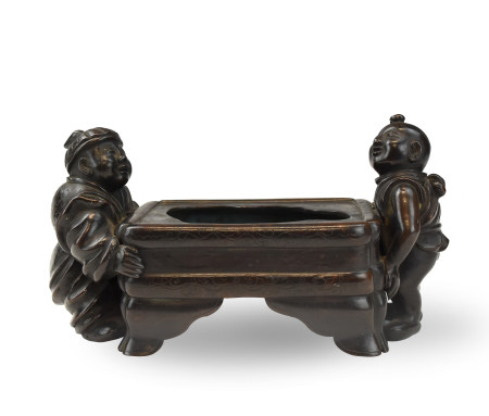 Chinese Bronze Washer Pot w/ Children, Qing D.