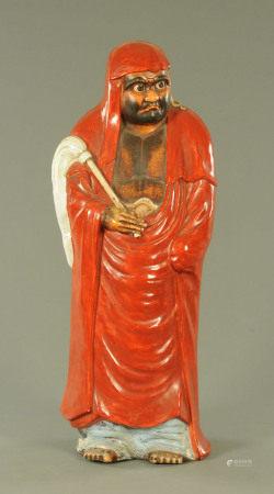 A large Japanese Kutani figure of Daruma, Meiji period,