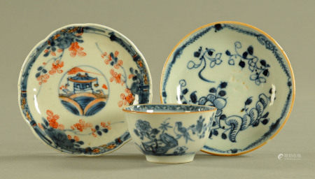 A late 18th/early 19th century Chinese blue and white tea bowl and saucer,