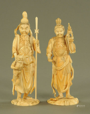 A pair of late 19th/early 20th century Japanese carved ivory figures, both signed to base,