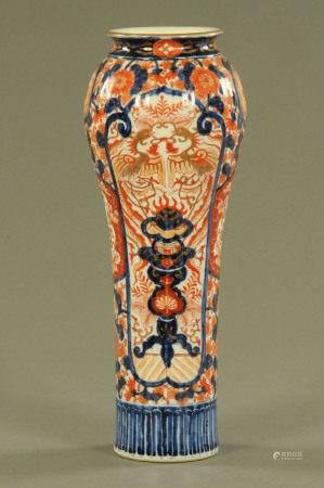A 19th century Imari vase, decorated in typical Imari colours. Height 41 cm.