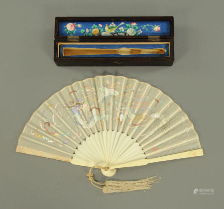 A Chinese ivory and silk embroidered fan, early 20th century,
