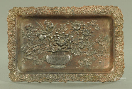 A Japanese antimony plated rectangular tray, early 20th century,