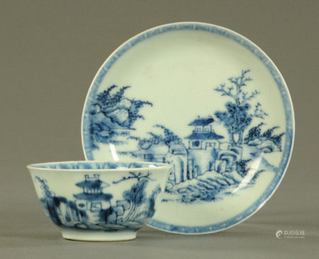 Nanking Cargo, a blue and white landscape pattern tea bowl and saucer,
