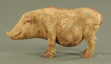 A Chinese Tang style pottery model of a sow,
