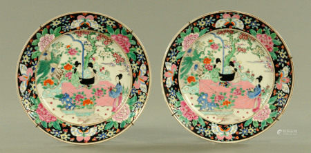 A pair of Chinese polychrome plates,